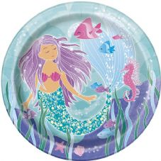 8 Mermaid Paper Party Plates